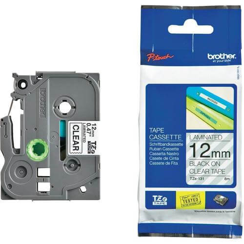 Brother TZE-131 12mm Black on Clear Label Printer tape